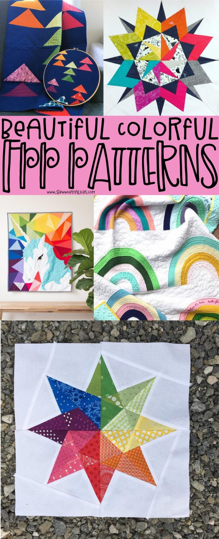 pictured multiple colorful quilt blocks