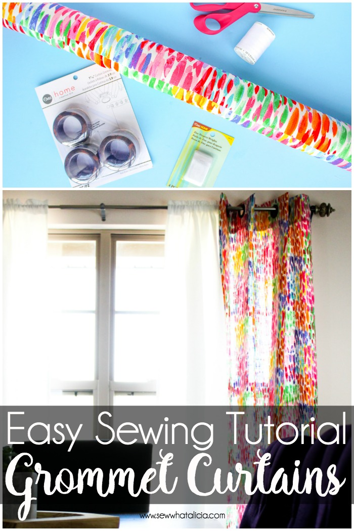 How to Make Curtains with Grommets: This is a great beginner sewing tutorial for anyone wanting to learn to make curtains. Curtains don't have to be intimidating even a beginner can sew their own curtains. Click through for the easy sewing tutorial. | www.sewwhatalicia.com