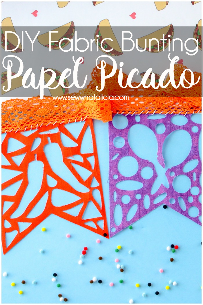 DIY Fabric Papel Picado Bunting: Use your cutting machine to create this fabric papel picado bunting. Click through for the file and a full tutorial.   www.sewwhatalicia.com