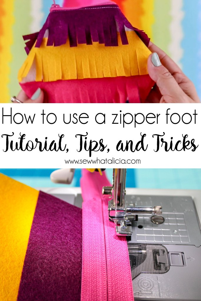 How to Use a Zipper Foot: If you have been dragging your feet about learning how to install a zipper this post is for you! Here is everything you need to know about using a zipper foot! Plus you won't want to miss the super cute fringe pouch! Click through for everything you need to know! | www.sewwhatalicia.com