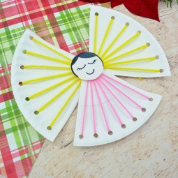 Easy Christmas Crafts for Kids – Angel Lacing Project