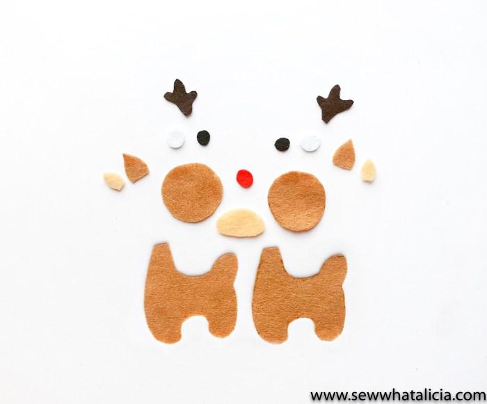 Each piece of reindeer cut out of felt.