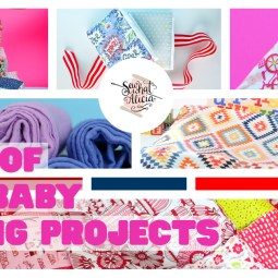 Tons of Free Sewing Patterns for Baby; collage of several different free baby projects to sew.
