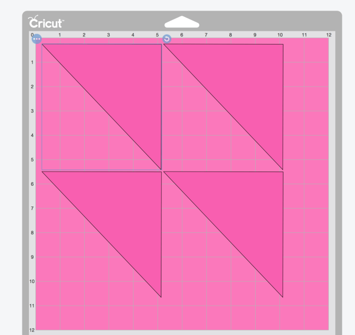 pictured: screen shot of design space with shape selected to show rotation arrow