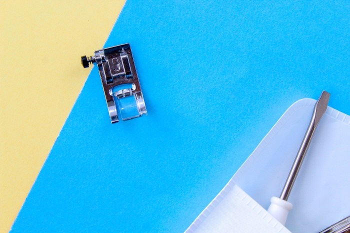 pictured: 1/4 presser foot on yellow and blue background