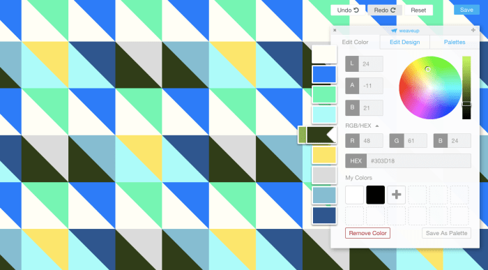 pictured: screen shot of customizing fabric color scheme