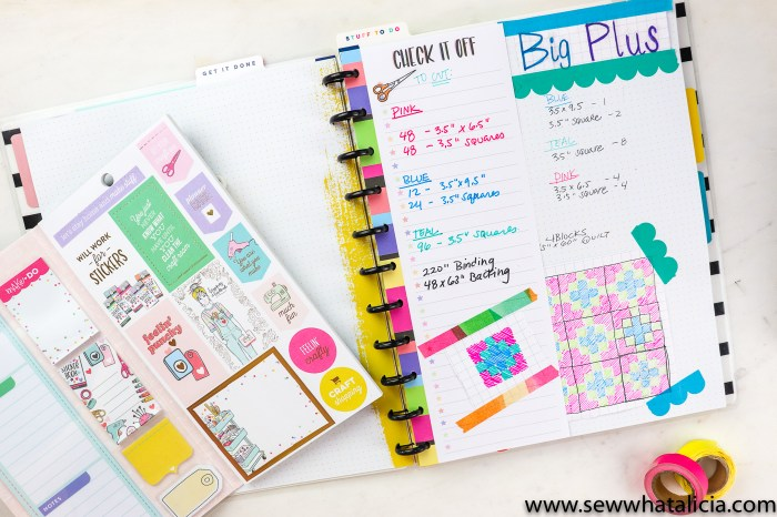 Pictured: happy planner page with a quilt drawn and package of maker stickers