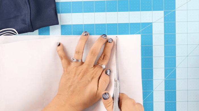 pictured cutting fusible interfacing