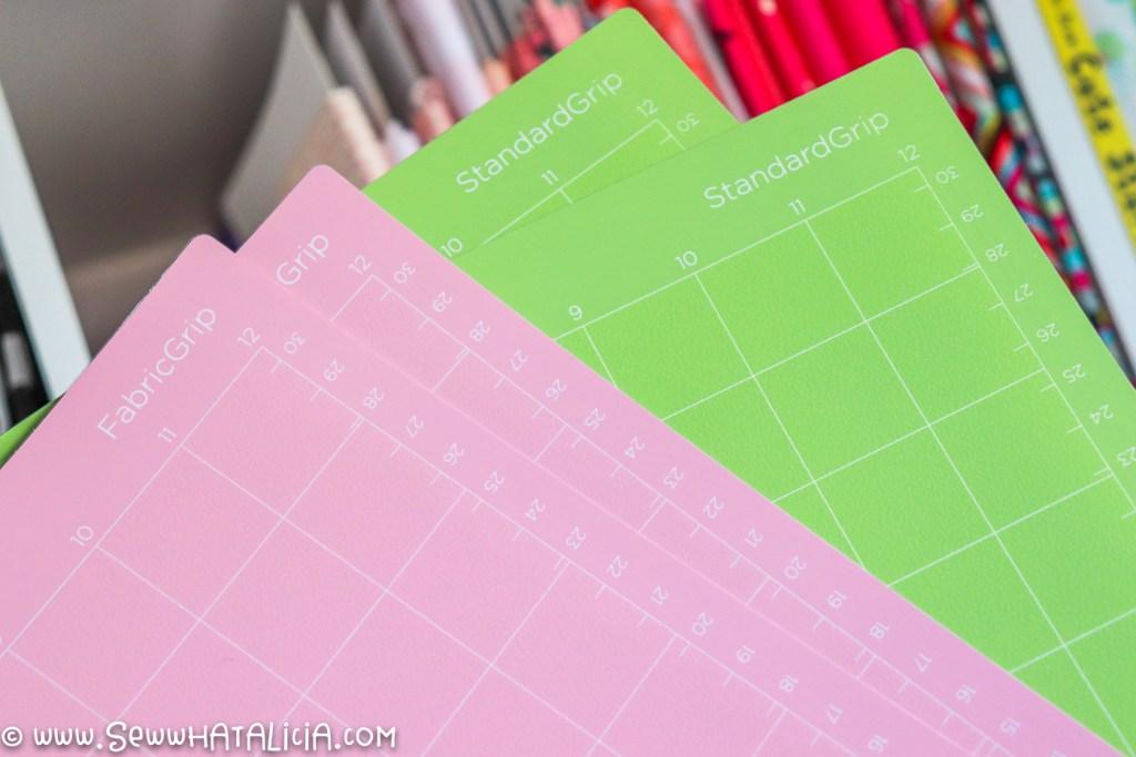 pink cricut mats and green cricut mats