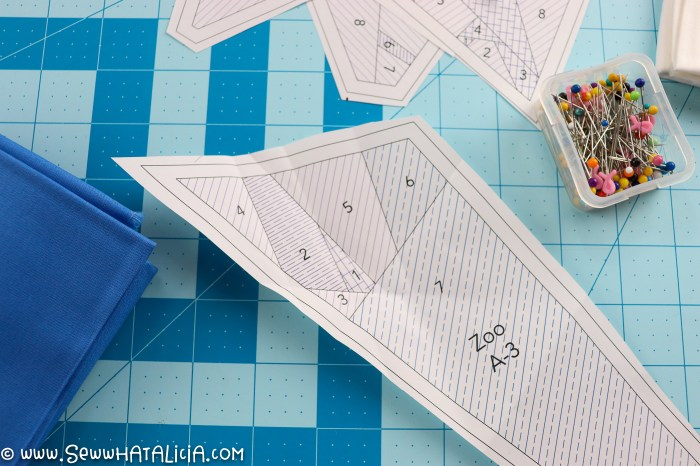 pictured: pattern pieces cut apart and creased on pattern lines