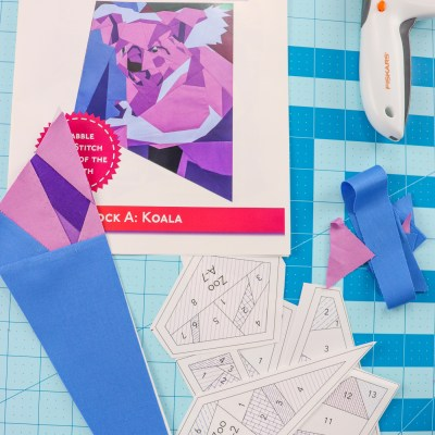 pictured koala quilt pattern, paper piecing templates, one finished pattern piece