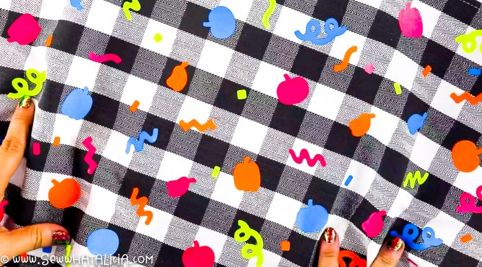 pictured cloth napkin with random shapes in varying colors