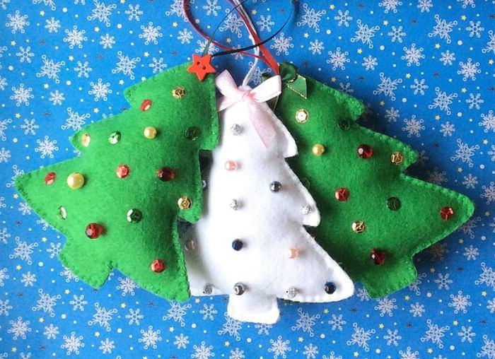 sparkling felt tree ornaments