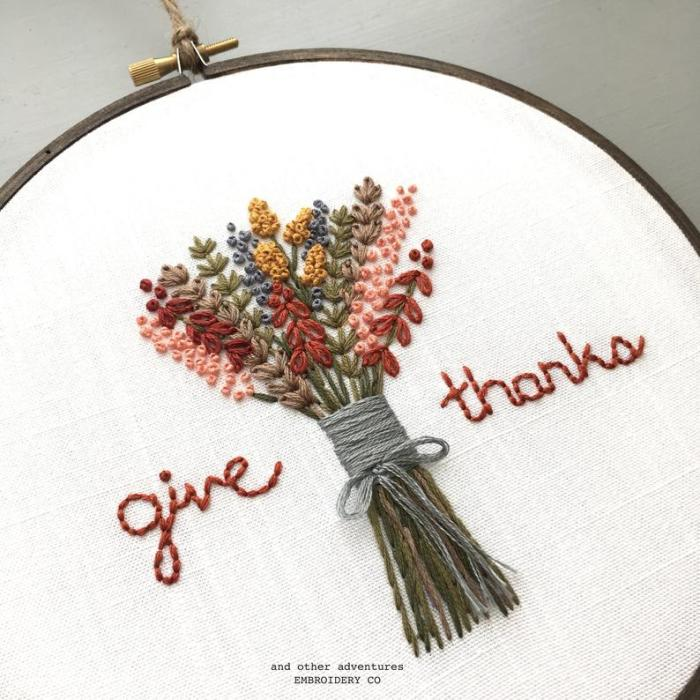 embroidered wildflower bouquet with words give thanks