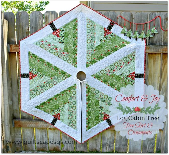 log cabin quilted tree skirt