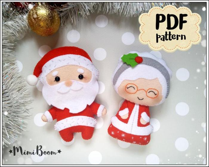 felt santa and Mrs. Claus