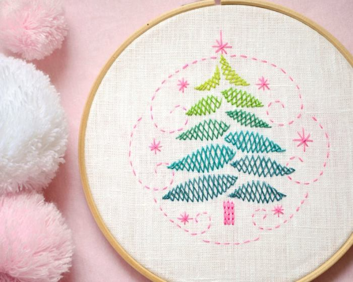 hand embroidered pastel tree
