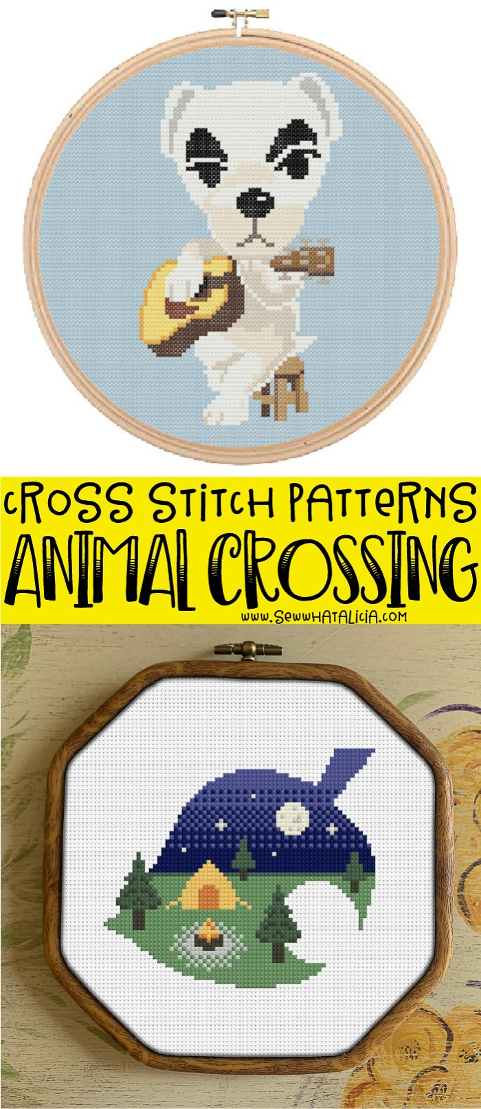 pictured two animal crossing cross stitch patterns and text overlay reading animal crossing cross stitch patterns