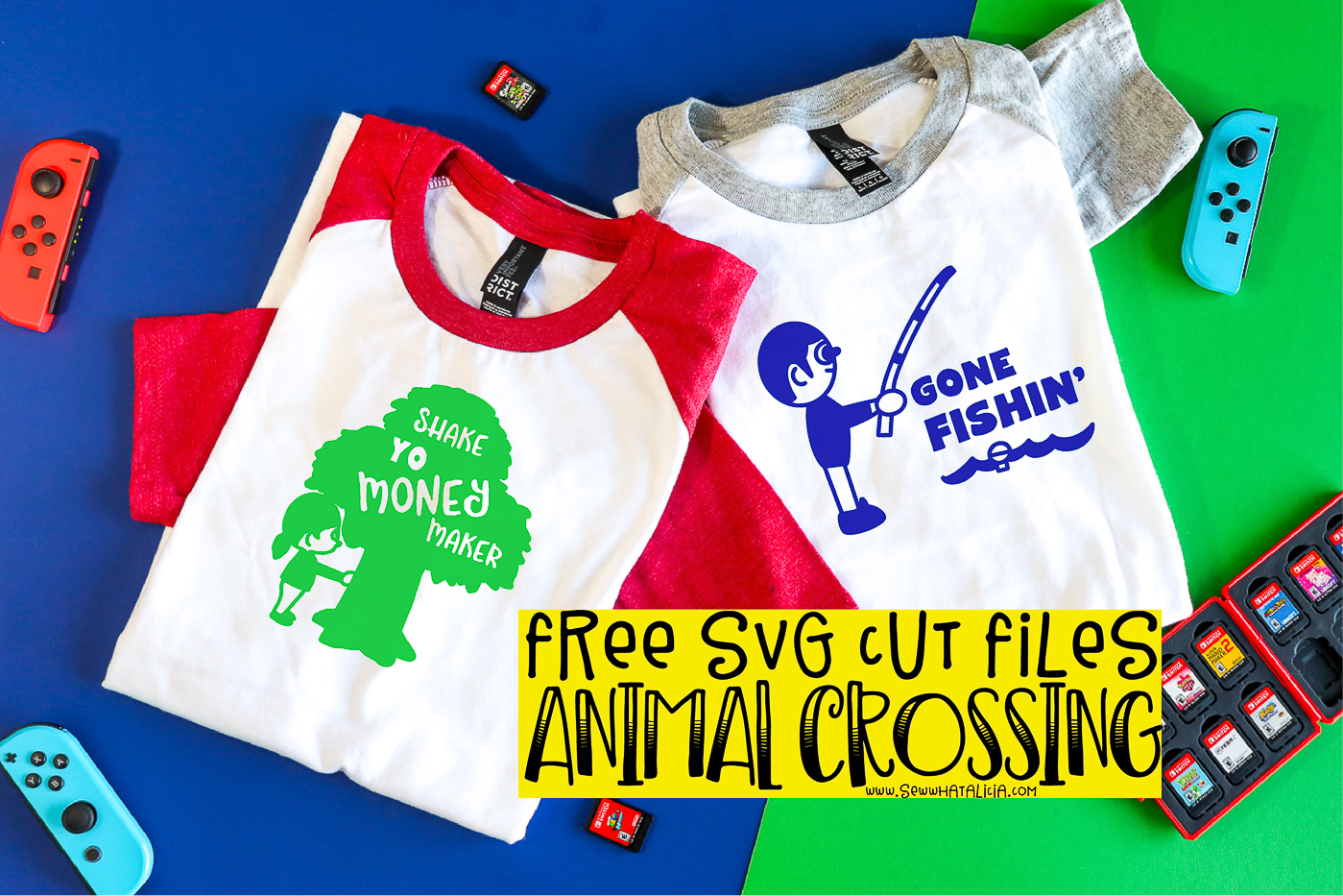 pictured tshirts with vinyl animal crossing images and nintendo switch controllers and video games