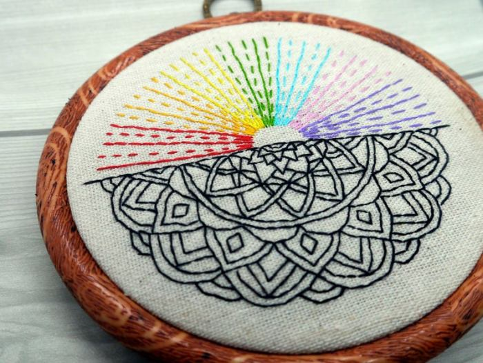 pictured half a mandala and a rainbow array