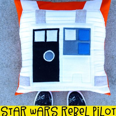 pictured pillow with wording that reads star wars rebel pilot pillow tutorial