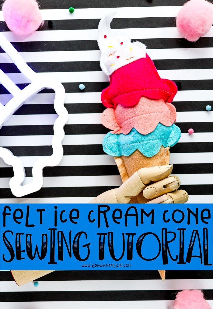 pictured stuffed ice cream cone made of felt