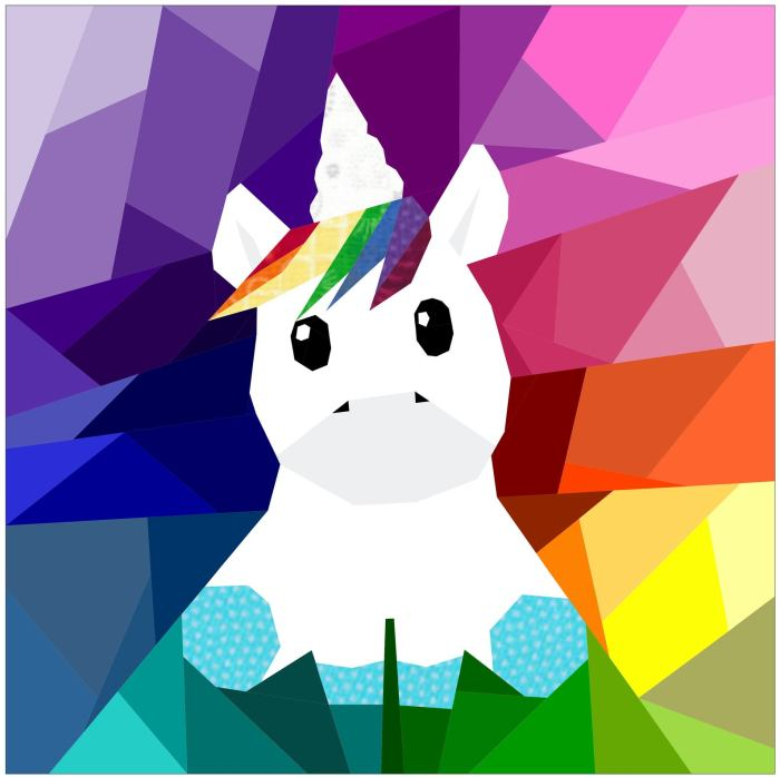 pictured digital mockup of baby unicorn quilt block