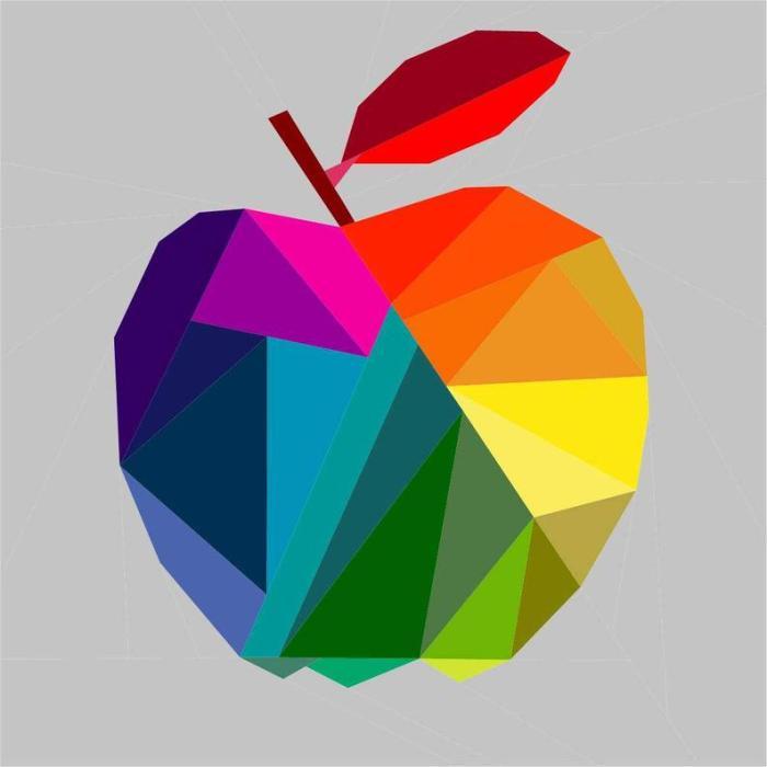 pictured digital mockup of geometric apple quilt block pattern