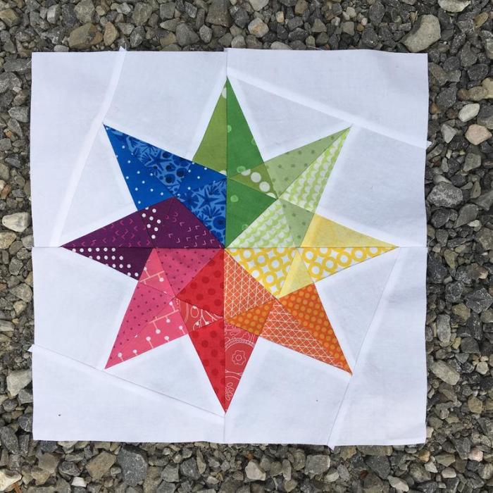 pictured finished rainbow star quilt block