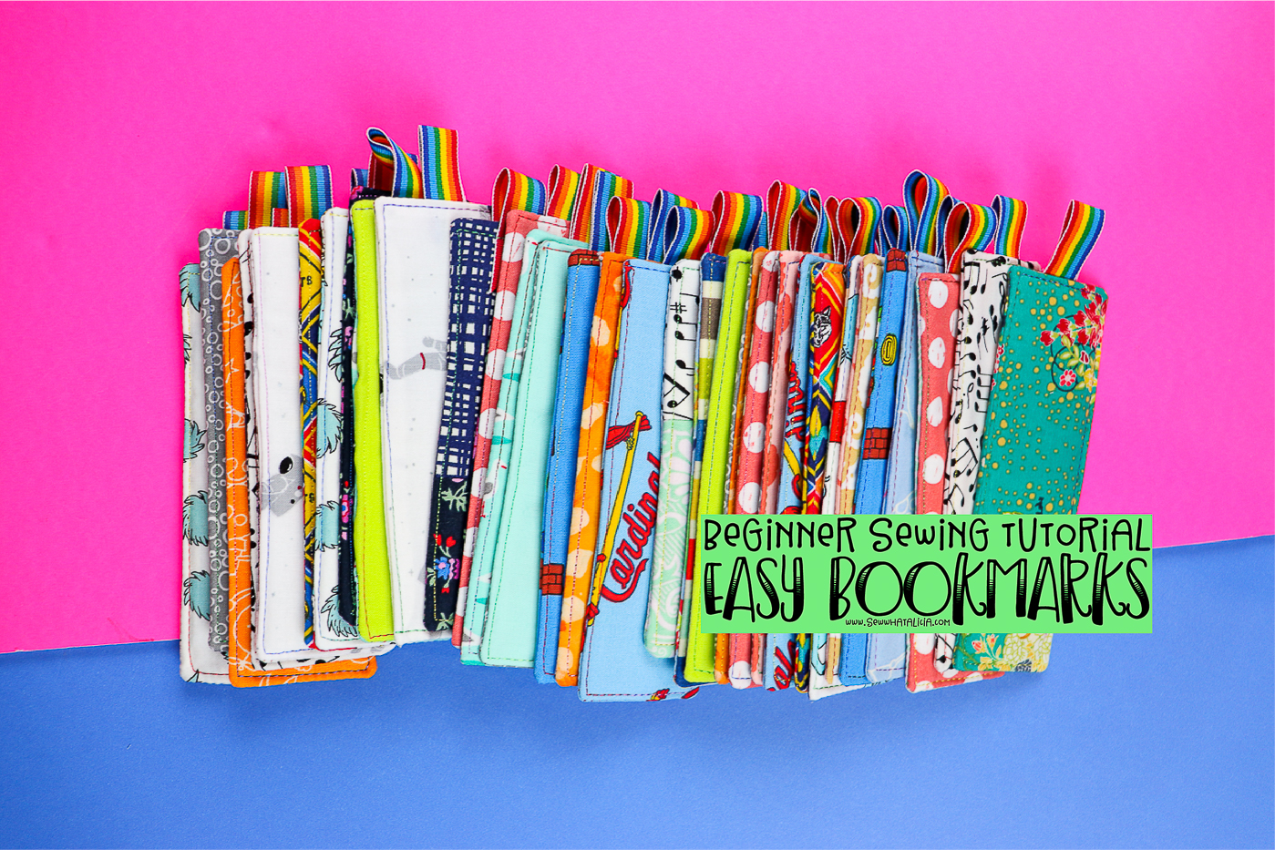 pictured many fabric bookmarks