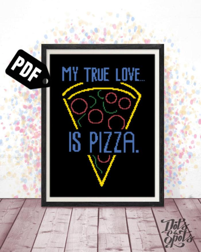pictured my true love is pizza digital mockup