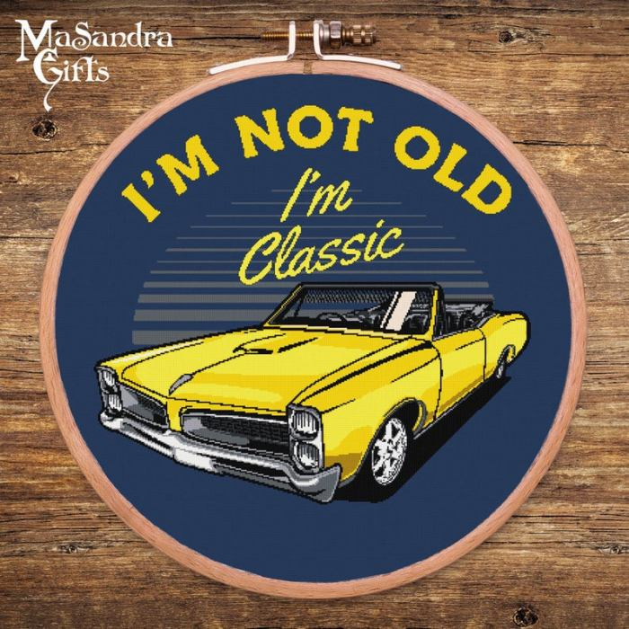pictured classic car cross stitch with words reading i'm not old i'm classic