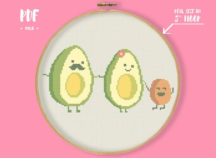pictured avocado family cross stitch pattern