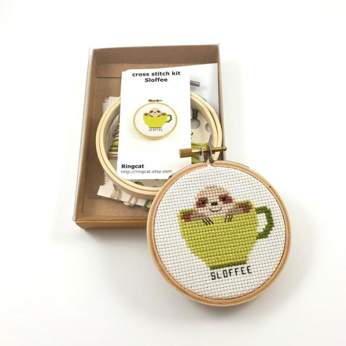 pictured slothee cross stitch kit