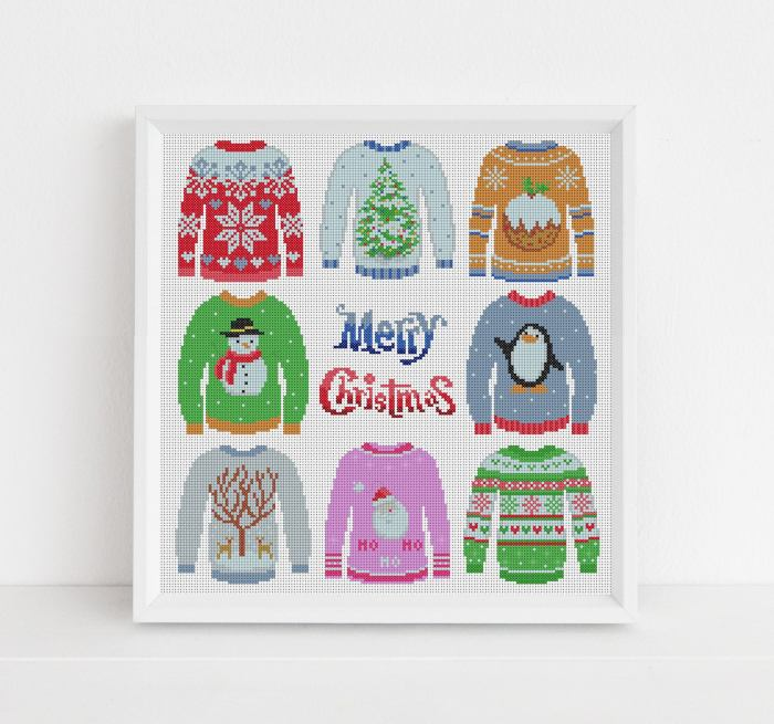 8 different christmas sweaters in cross stitch