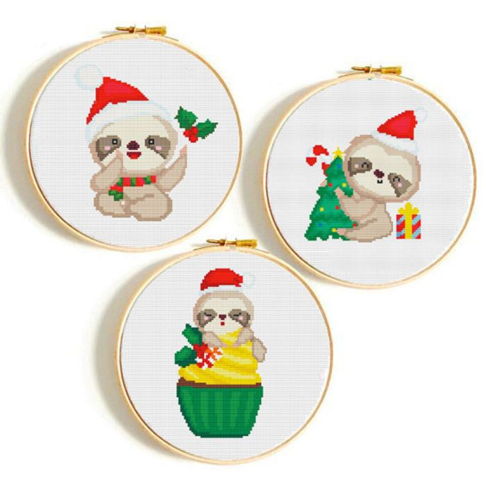set of three christmas sloth cross stitch patterns