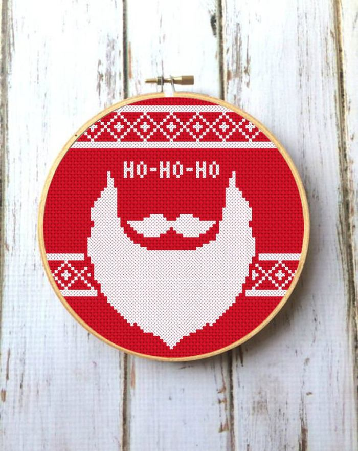 santa beard cross stitch pattern on red fabric