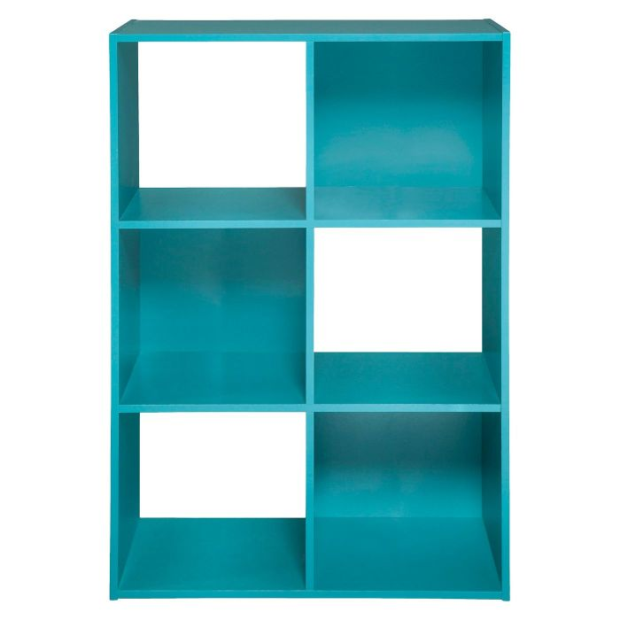 teal cubby with 6 shelves