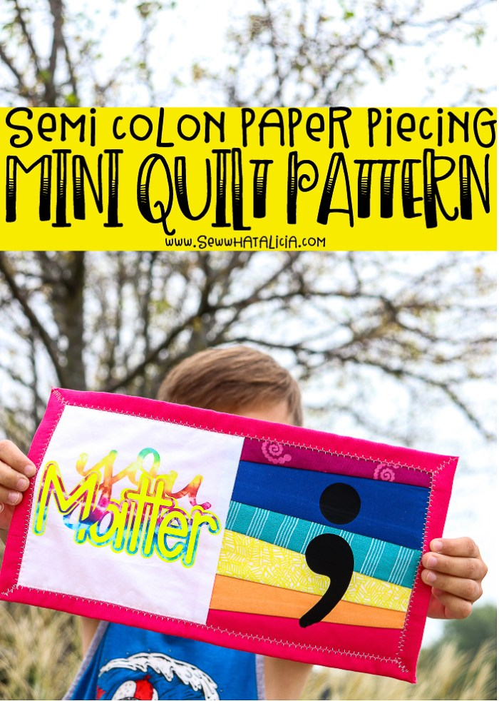 boy holding mini quilt with words you matter and a semi colon on the front