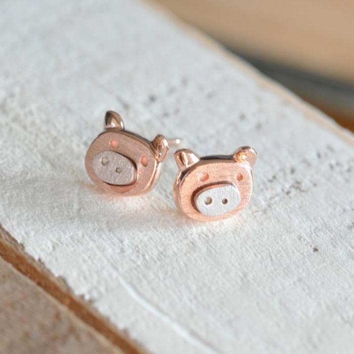 Pig Earrings in Rose Gold, Silver