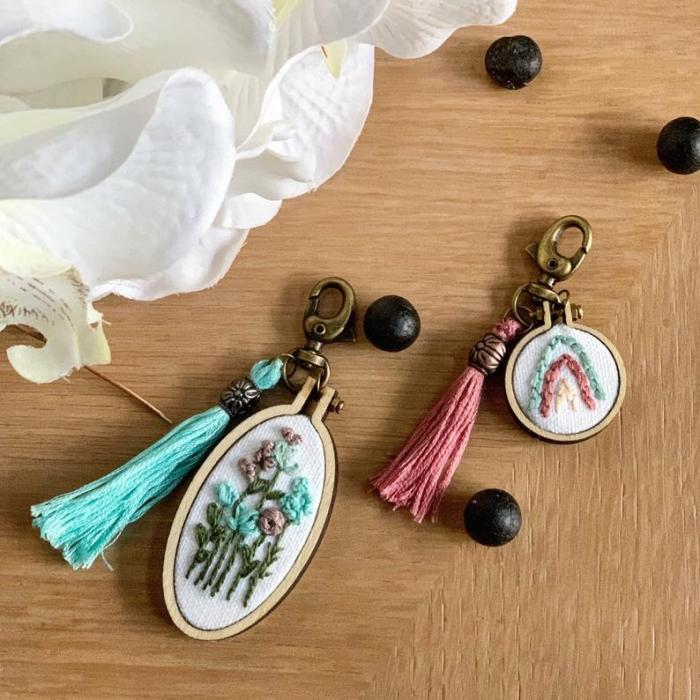 tassel keychains with embroidered images