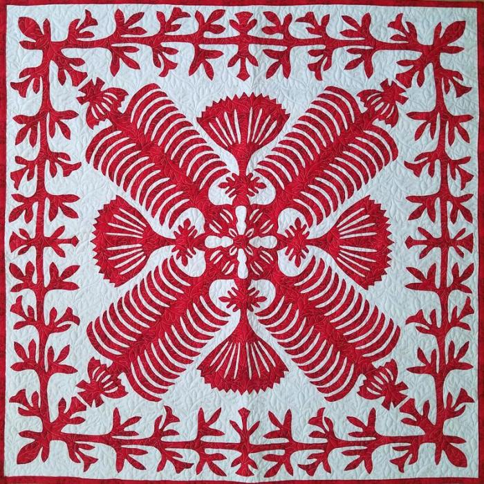 Red and White Hawaiian design wall quilt