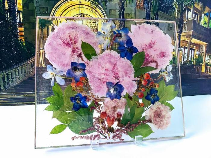 Pressed Dried Wedding Flowers Bouquet Resin Frame