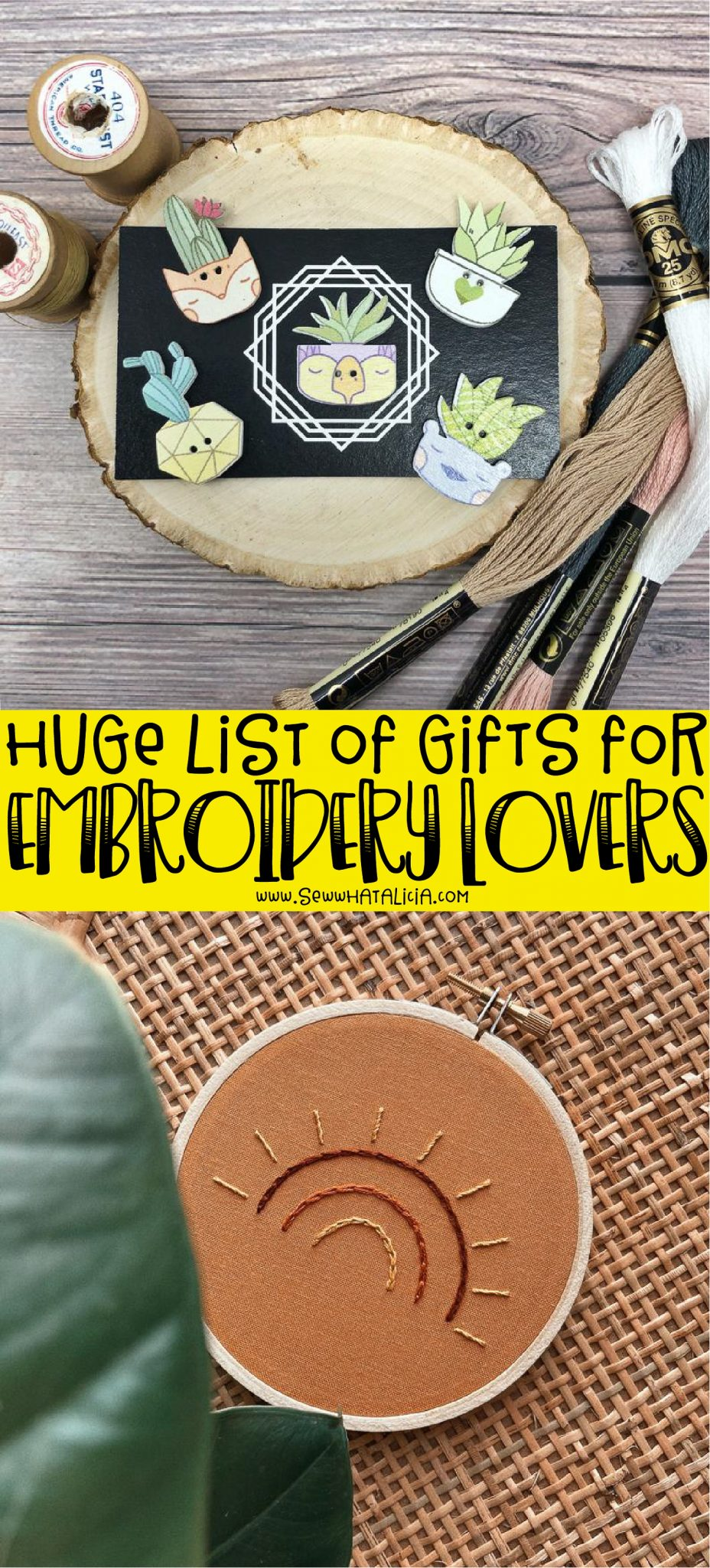 text overlay reading huge list of gifts for embroidery lovers, embroidery gifts rainbow hoop, cactus needle minders on wood slice