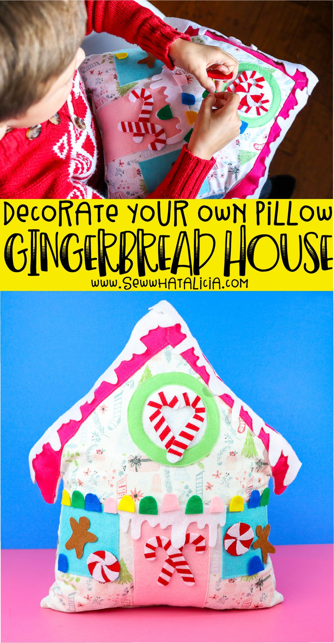 child holding pillow, text reading decorate your own pillow gingerbread house, close up of decorated gingerbread house pillow