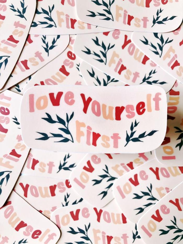 large collection of stickers with text love yourself first