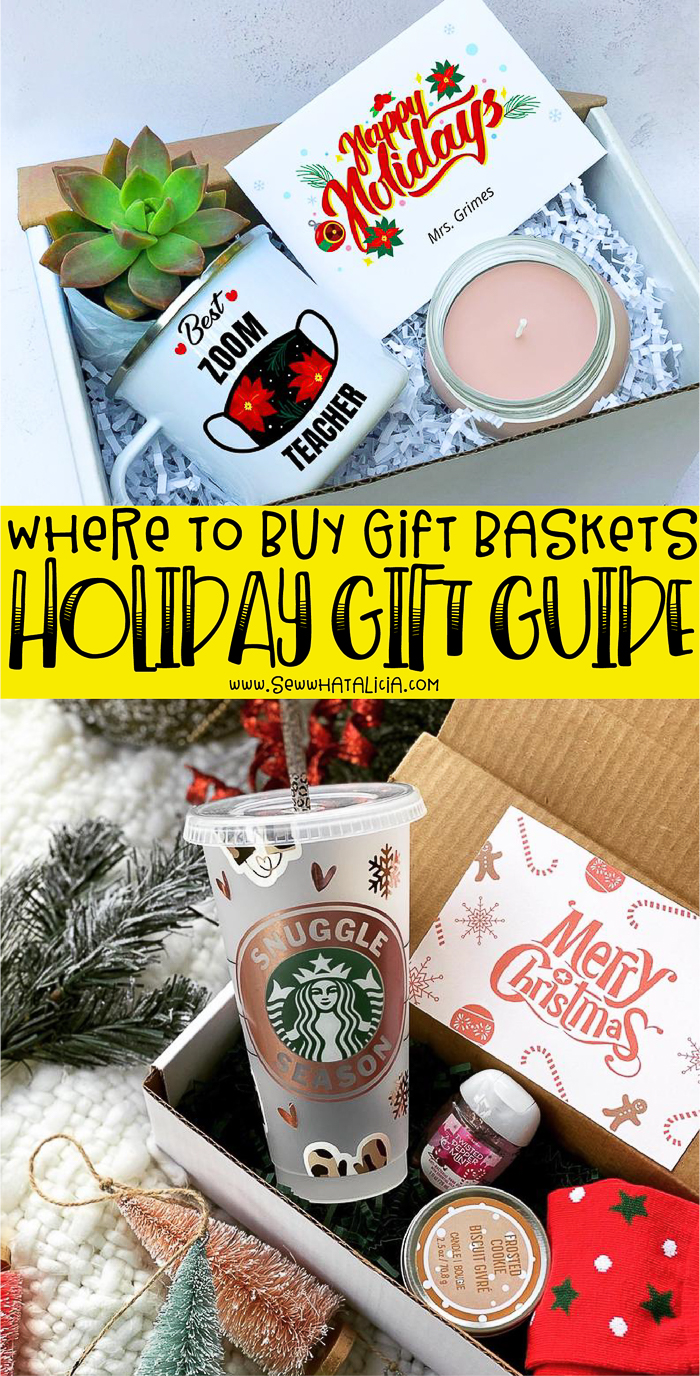 happy holiday teacher basket, text overlay reading where to buy gift baskets, starbucks themed gift basket