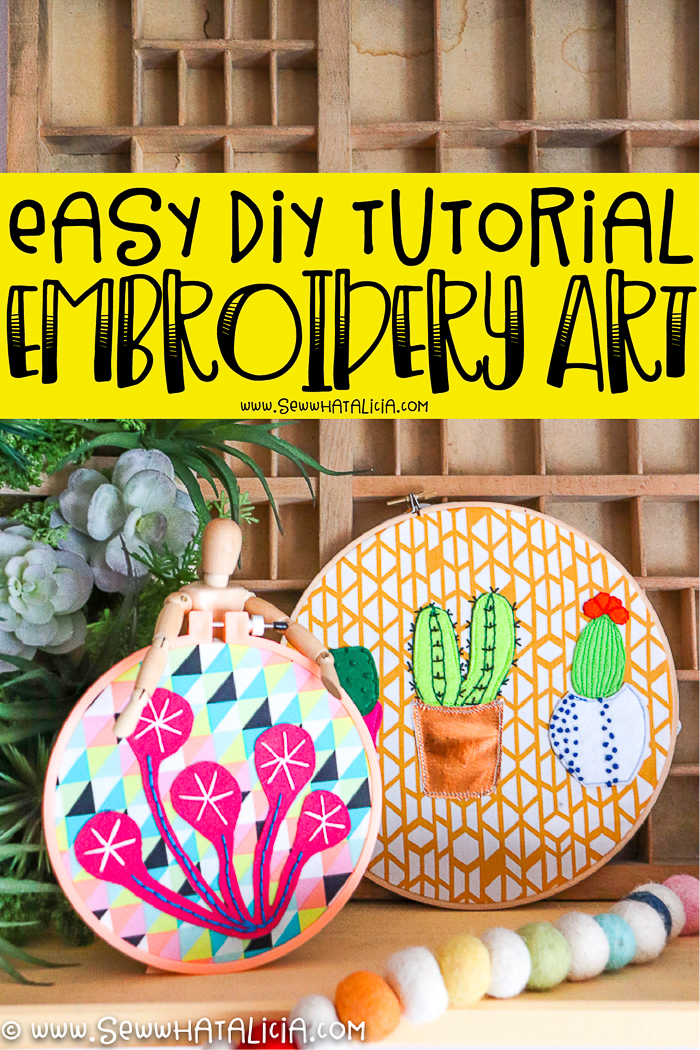 text overlay reading easy diy tutorial embroidery art two embroidery hoop wall art pieces