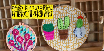 embroidery hoops with fabric and felt art