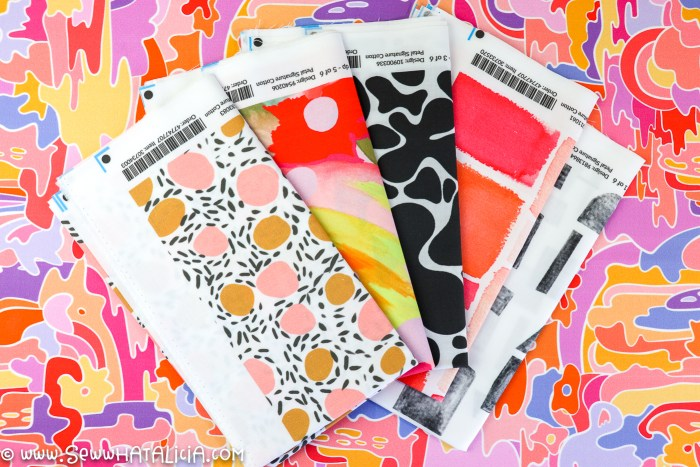 colorful and black and white fat quarters from spoonflower